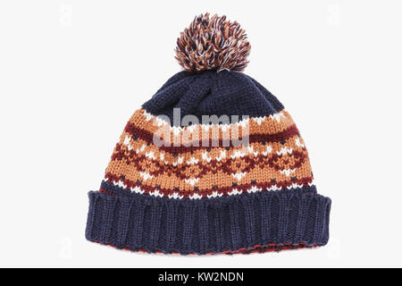 knitted hat isolated on white background .hat with pompon - Stock Photo