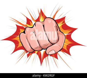 Illustration of a powerful fist punching, on explosion background - Stock Photo
