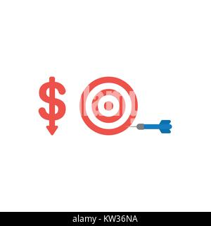 Flat design vector illustration concept of red dollar money symbol icon with arrow moving down and bulls eye with - Stock Photo
