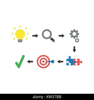 Flat design vector illustration concept of success with glowing light bulb idea, magnifying glass, gears, connected - Stock Photo