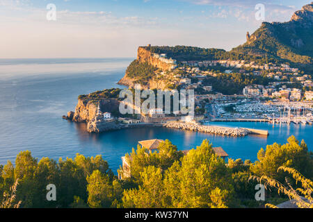 High Angle View on Port de Soller, Mallorca, Balearic Islands, Spain at Sunset - Stock Photo