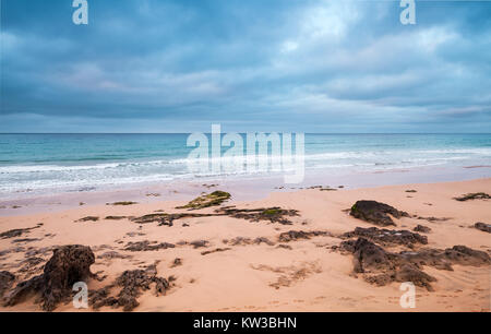 Coastal rocks on the beach of Porto Santo island, Madeira archipelago, Portugal - Stock Photo
