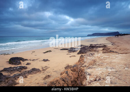 Sandstone rocks on the beach of Porto Santo island in the Madeira archipelago, Portugal - Stock Photo