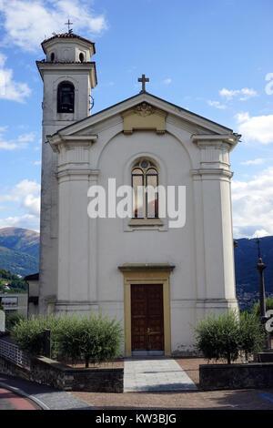 Old parish church in Lugano, Switzerland - Stock Photo