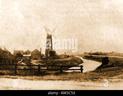 Trusthorpe Mill ( wind powered post / tower corn windmill)  near Mablethorpe, Lincolnshire UK in 1933 - Stock Photo