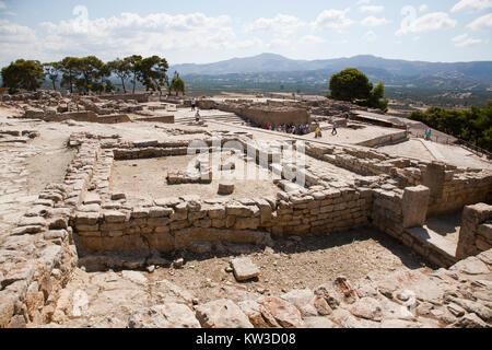 The upper court, Festos, archeological area, Crete island, Greece, Europe - Stock Photo