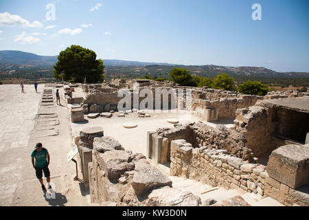 Central courtyard and area, Festos, archeological area, Crete island, Greece, Europe - Stock Photo