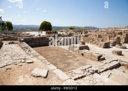 Central courtyard area, Festos, archeological area, Crete island, Greece, Europe - Stock Photo