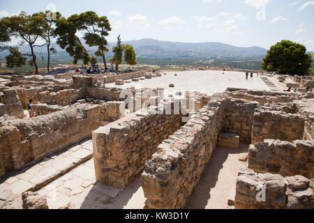 Central courtyard and area, Festos, archeological area, Crete island, Greece, Europe - Stock Photo