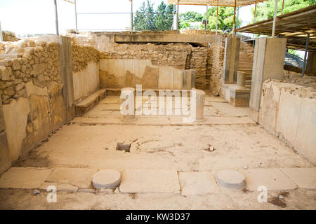 The queen megaron, royal apartments, Festos, archeological area, Crete island, Greece, Europe - Stock Photo