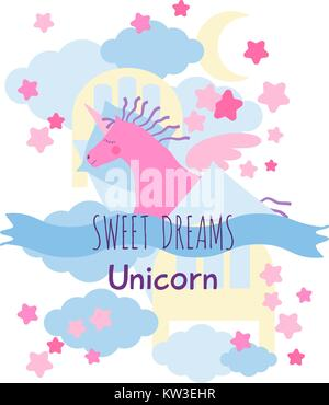 Pink winged unicorn horse with violet mane and tail sleeps in the sky bed on the clouds . Sweet dreams greeting - Stock Photo
