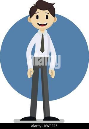 funny cartoon businessman portrait, concept vector illustration - Stock Photo