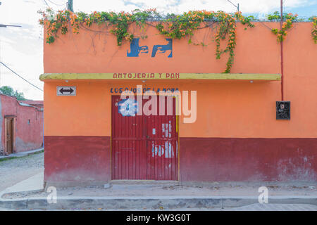 A colorful store front on a corner, with flowering vines, trailing from the rooftop, and cobblestone streets, in - Stock Photo