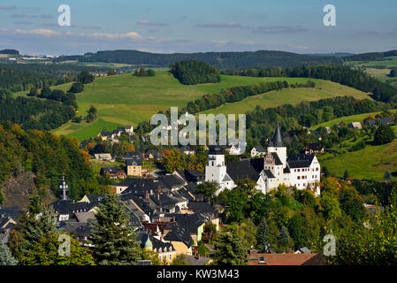 The middle Erzgebirge, Old Town with church Saint Georg and castle in black mountain, Mittleres Erzgebirge, Altstadt - Stock Photo