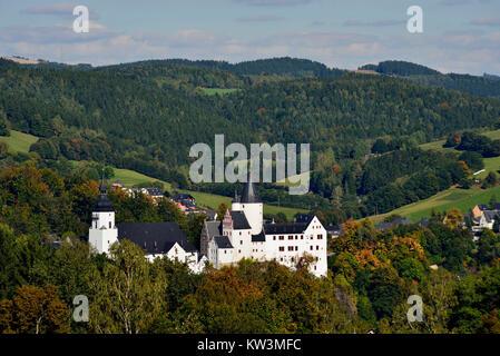 The middle Erzgebirge, church Saint Georg and castle Black mountain, Mittleres Erzgebirge, Kirche St Georg und Schloss - Stock Photo