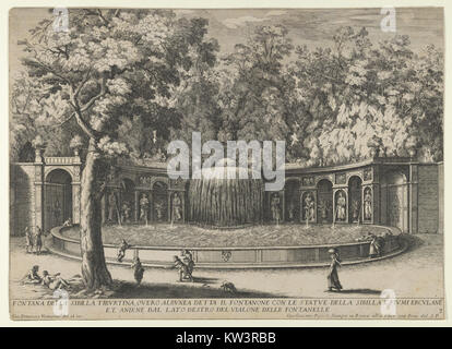 Book IV, plate 7  the fountain of the Tiburtine sibyl in the garden at Villa d'Este, Tivoli, from the series 'The - Stock Photo