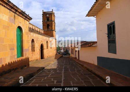 Small street in the colonial village of Barichara, near San Gil - Stock Photo