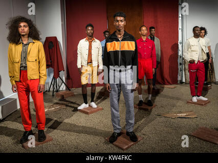 NEW YORK, NY - July 10, 2017: Models pose at the Head Of State presentation during New York Fashion Week Men's S/S - Stock Photo