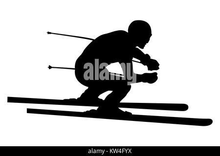 skier athlete downhill alpine skiing vector illustration - Stock Photo