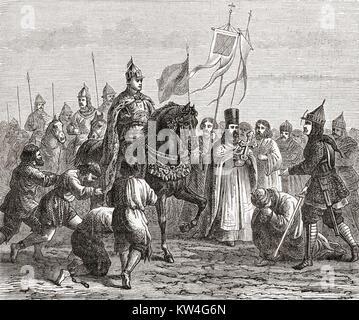 Ivan the Terrible entering Kazan in 1552.  Ivan IV Vasilyevich, 1530 – 1584, aka Ivan the Terrible or Ivan the Fearsome. - Stock Photo