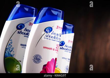 POZNAN, POLAND - DEC 7, 2017: Head & Shoulders products, American brand of anti dandruff and non dandruff shampoo - Stock Photo