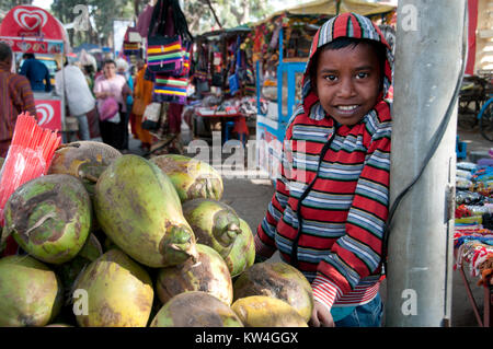 India. Bihar. Bodhgaya, the town where the Buddha sat under a sacred fig tree (bhodi tree) and received enlightenment. - Stock Photo