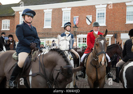 Atherstone Hunt meeting in Market Bosworth Leicestershire on Boxing Day - Stock Photo