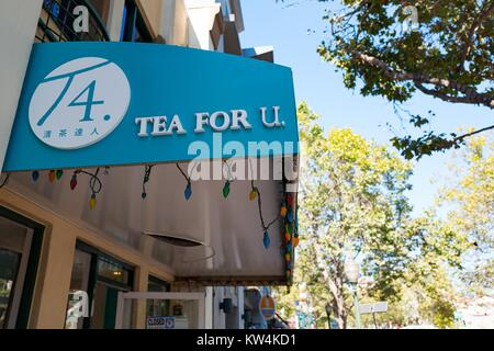 Logo and signage for Tea For U, a Taiwanese boba (bubble) tea cafe on University Avenue in the Silicon Valley town - Stock Photo