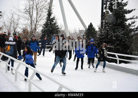 Visitors enjoy ice skating in the snow at the Skating Ribbon, a winding path along the lakefront in Chicago's Maggie - Stock Photo