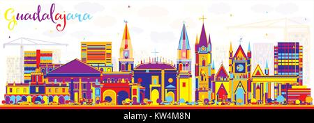 Abstract Guadalajara Mexico City Skyline with Color Buildings. Vector Illustration. Business Travel and Tourism - Stock Photo