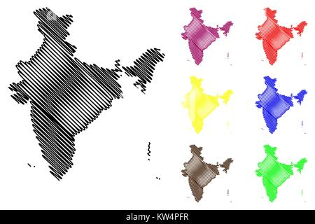 India map vector illustration, scribble sketch Republic of India - Stock Photo