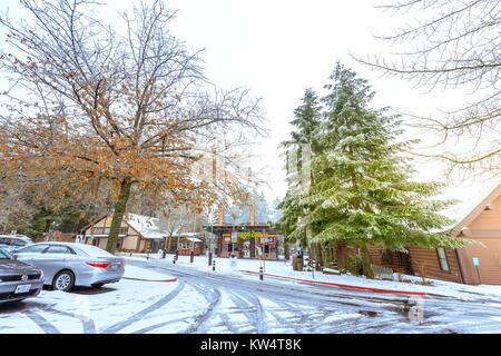 Portland, Oregon, United States - Dec 25, 2017 : The entrance of Oregon Zoo in Washington Park station at winter season