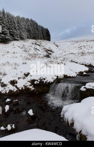 Waterfall on Blaen Taf Fawr, near Pont ar Daf car park, Brecon Beacons, Wales. - Stock Photo