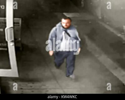 Digitally colorized image from a surveillance camera frame of Admad Khan Rahami, a suspect in the September 17, - Stock Photo