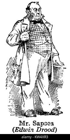 Charles  Dickens 1812 to 1870 - Dickens characters -1930's illustration - Mr Sapsea from 'The Mystery of Edwin Drood' - Stock Photo