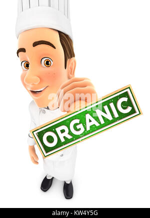 3d head chef organic stamp, illustration with isolated white background - Stock Photo
