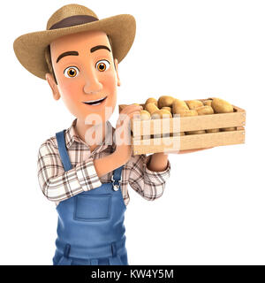 3d farmer holding crate of potatoes, illustration with isolated white background - Stock Photo