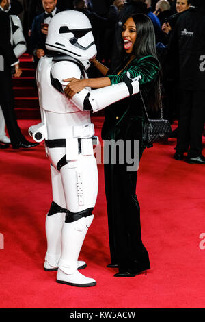 Alexandra Burke and Stormtrooper attends the European Premiere of Star Wars - The Last Jedi at The Royal Albert - Stock Photo