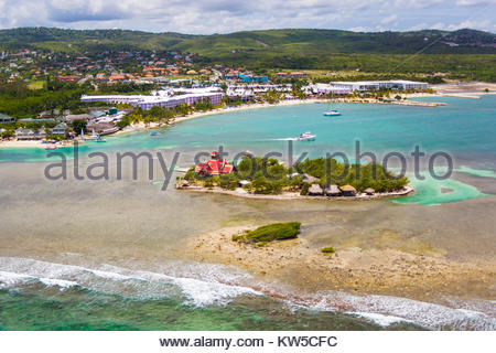 An aerial view of the Sandals Royal Caribbean island resort in Montego Bay, Jamaica. - Stock Photo