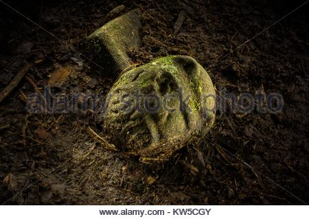 An artifact with a carved face, part jaguar, part human, about the size of a fist. - Stock Photo