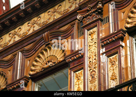 Close up of ornate and bizarre detailing in the Central Arcade, Newcastle upon Tyne. - Stock Photo