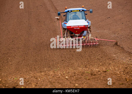 Drilling Barley in the spring, Gloucestershire, UK - Stock Photo