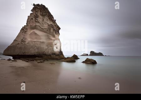 Te Hoho Rock sea stack stands sail like over an atmospheric Cathedral Cove near Hahei on the Coromandel Peninsula, - Stock Photo
