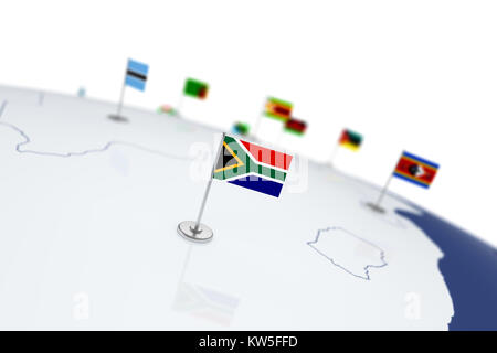 South Africa flag. Country flag with chrome flagpole on the world map with neighbors countries borders. 3d illustration - Stock Photo