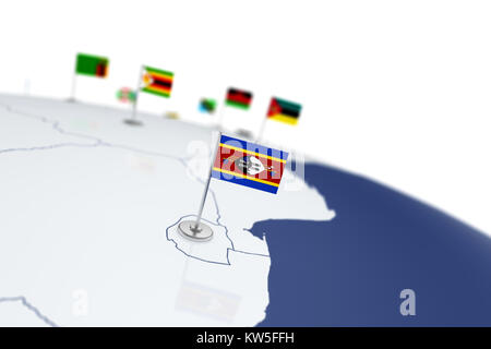 Swaziland flag. Country flag with chrome flagpole on the world map with neighbors countries borders. 3d illustration - Stock Photo