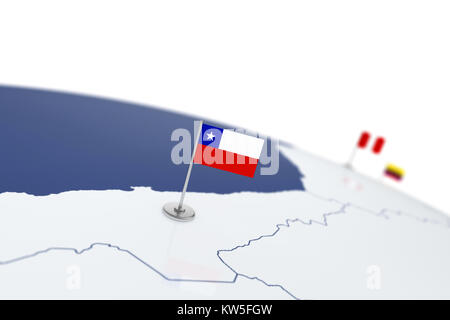 Chile flag. Country flag with chrome flagpole on the world map with neighbors countries borders. 3d illustration - Stock Photo