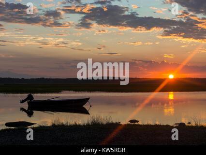 Beautiful Sunset on Hampton Beach Salt Marsh - Stock Photo