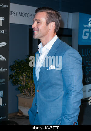 SYDNEY, AUSTRALIA - AUGUST 01: Kris Smith attends the Princess Yachts launch evening at Rose Bay Marina on August - Stock Photo