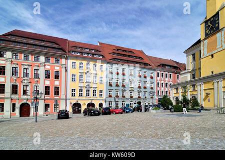 Town houses in the market, Bautzen, Buergerhaeuser am Markt - Stock Photo