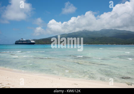 Mystery Island, Vanuatu, Pacific Islands-December 2,2016: Holland America Line cruise ship anchored in the Pacific - Stock Photo